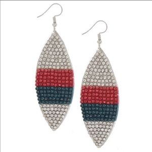 Striped Rhinestone Earrings